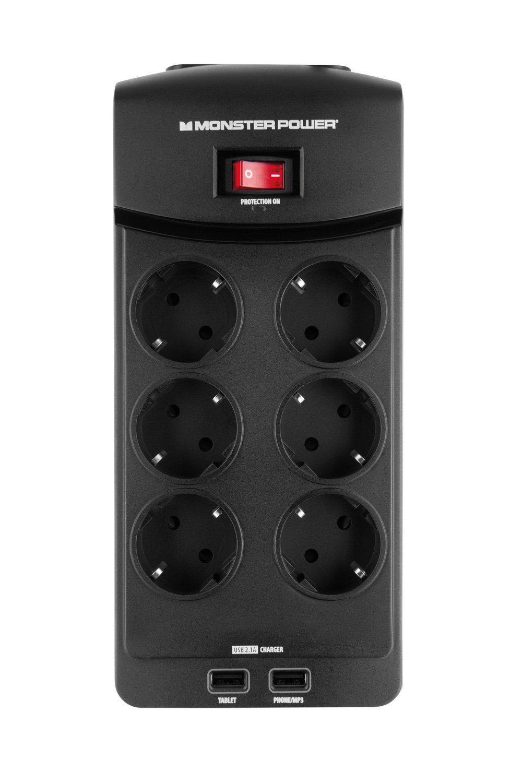 Monster 6-fache USB Steckdosenleiste mit Überspannungsschutz