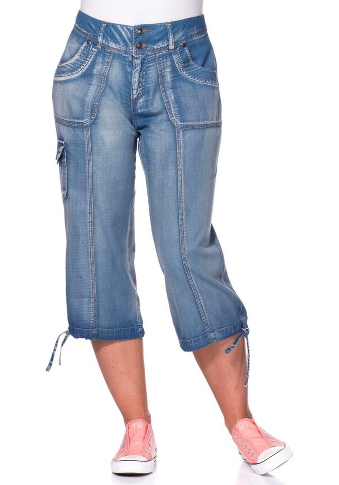 sheego Casual Gerade 3/4-Cargohose in blau