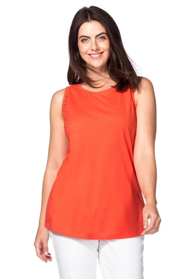 sheego Casual Top in korallrot