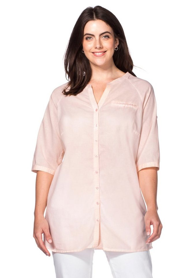 sheego Casual Longbluse in cremerosé