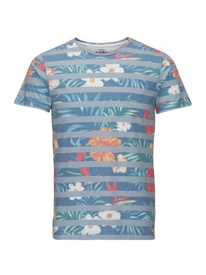 Jack & Jones Blumengestreiftes T-Shirt in White 2