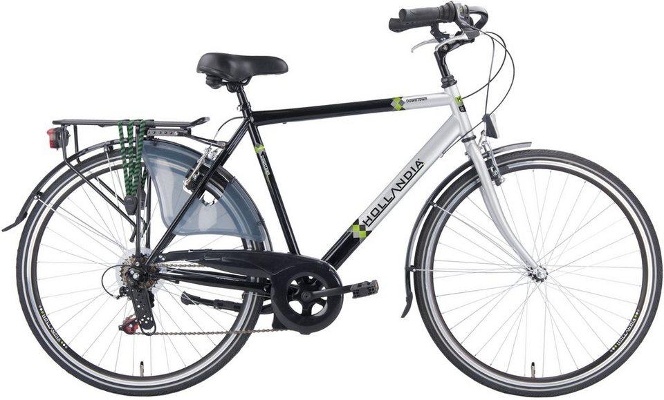 Hollandia Herren Citybike, 28 Zoll, 6 Gang Shimano Kettenschaltung, »City Comfort« in schwarz/silberfarben