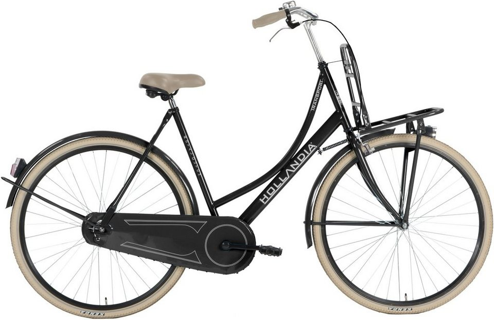 Hollandia Damen Citybike, 28 Zoll, Singlespeed, Rücktritt, »Transport« in schwarz