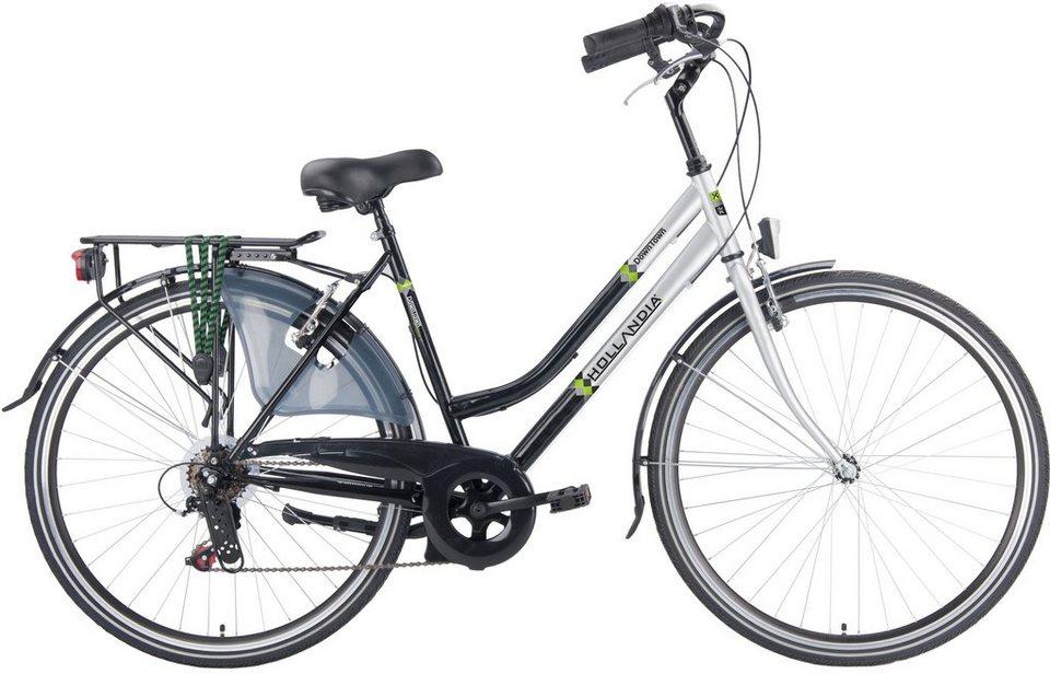 Hollandia Damen Citybike, 28 Zoll, 6 Gang Shimano Kettenschaltung, »City Comfort« in schwarz/silberfarben