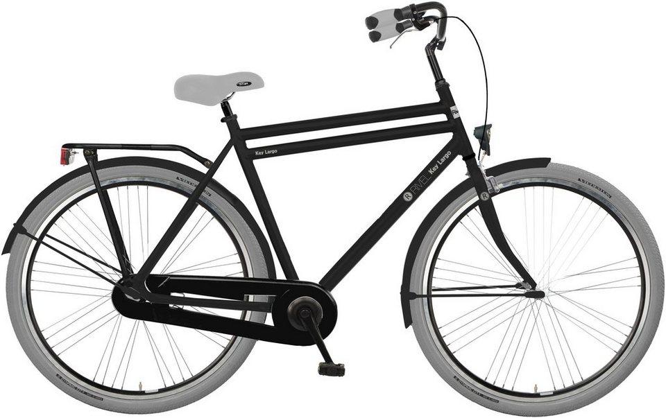 Rivel Herren Citybike, 28 Zoll, Singlespeed, Rücktritt, »Key Largo« in schwarz/grau