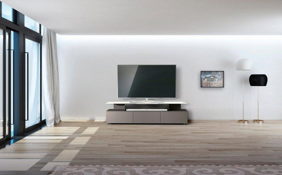 just-racks TV-Lowboard »JRM1650« mit schwebender Glasplatte, Breite 165 cm in Cappuccino Grey