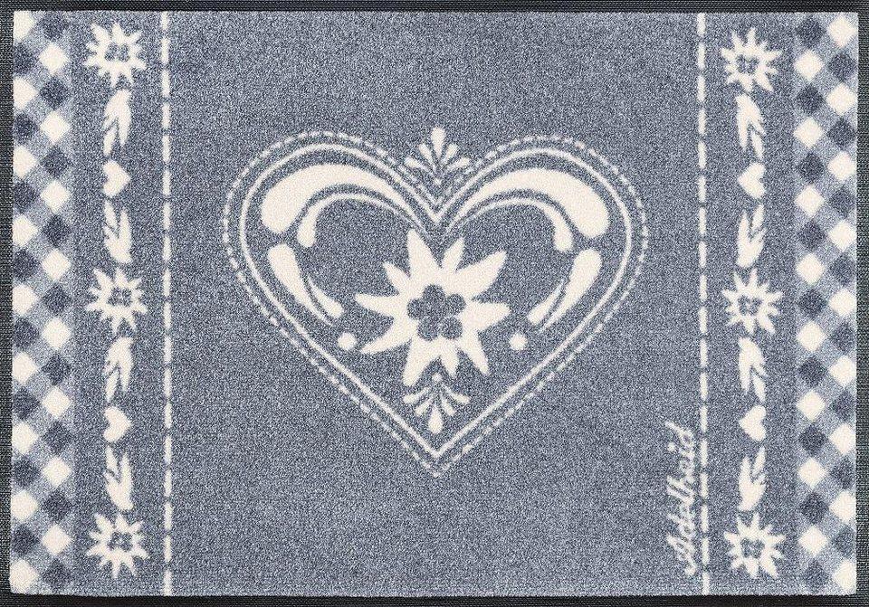 Fußmatte »Herzbandl«, wash+dry by Kleen-Tex, rechteckig, Höhe 9 mm in grau