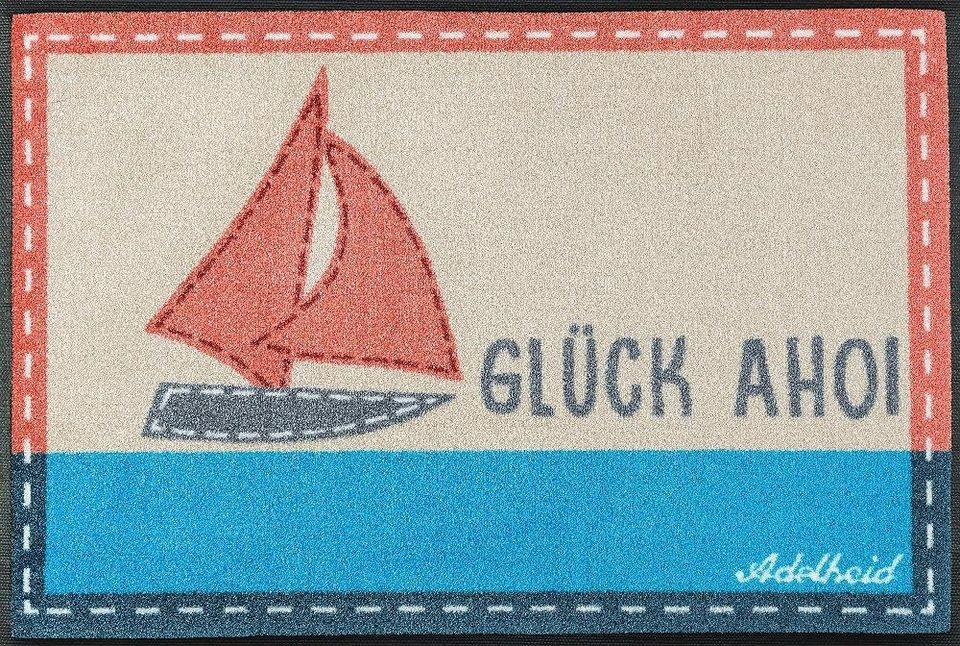Fußmatte, wash+dry by Kleen-Tex, »Glück Ahoi«, rutschhemmend beschichtet in koralle/blau
