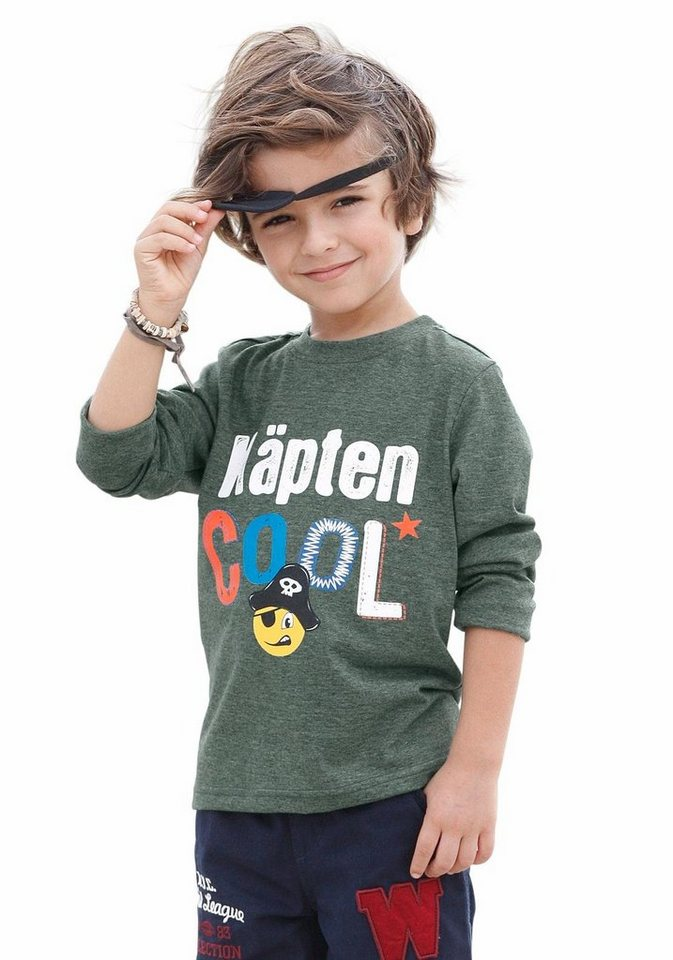 "KIDSWORLD Langarmshirt ""Käpten cool"" in flaschengrün"