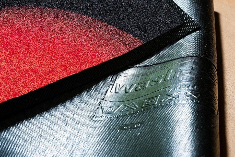 Fußmatte, wash+dry by Kleen-Tex, »Royal Cat«, rutschhemmend beschichtet in schwarz rot