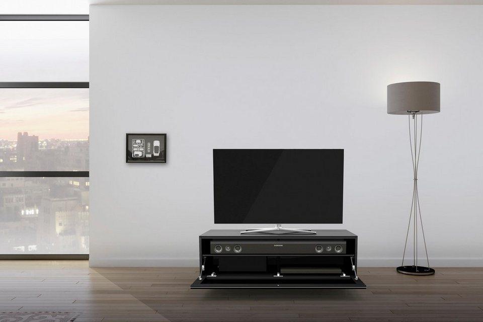 just-racks TV-Lowboard »JRL1101S« mit stoffbespannter Klappe, Breite 110 cm in Schwarzglas