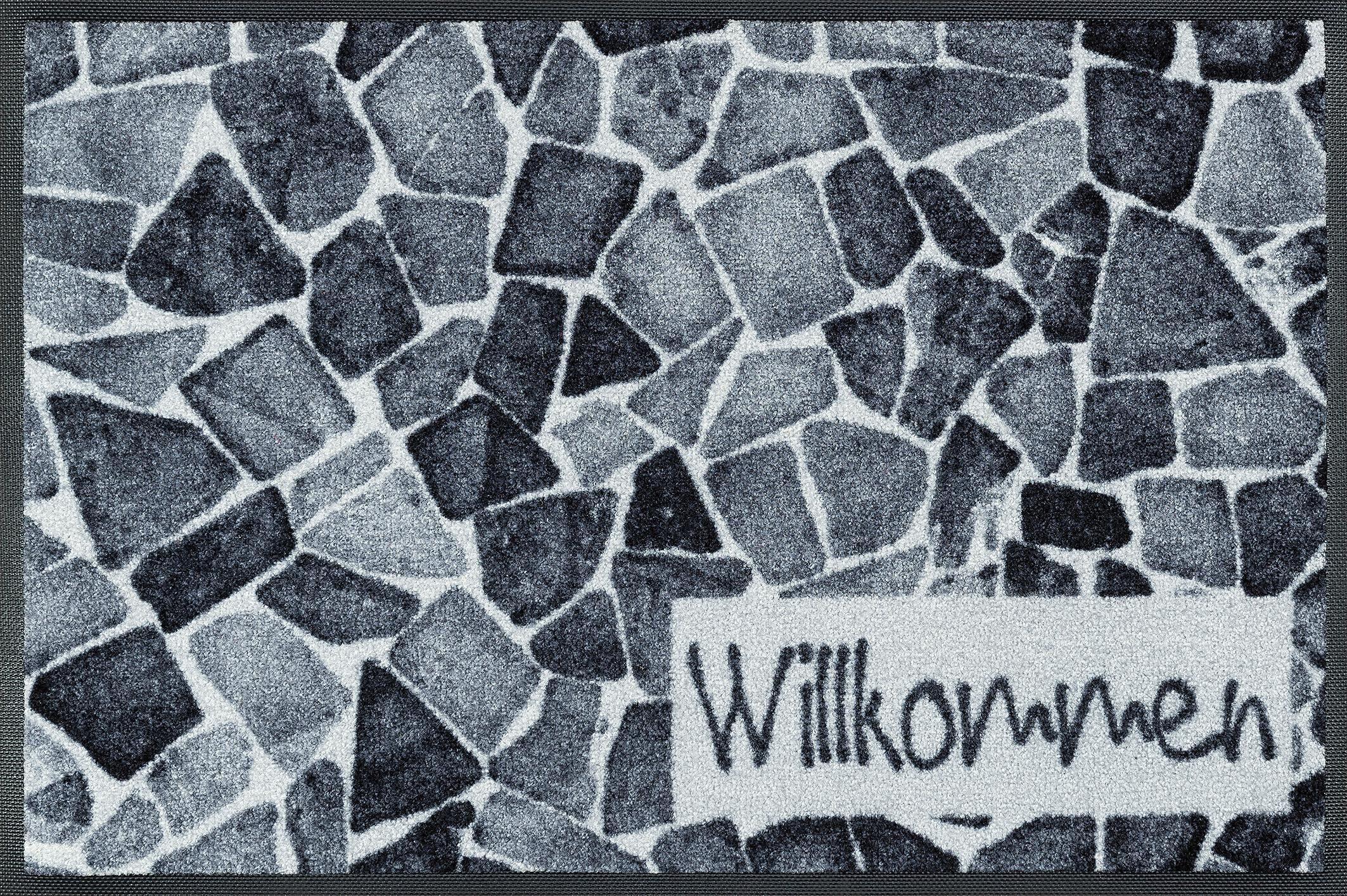 Fußmatte »Willkommen Steine«, wash+dry by Kleen-Tex, rechteckig, Höhe 7 mm