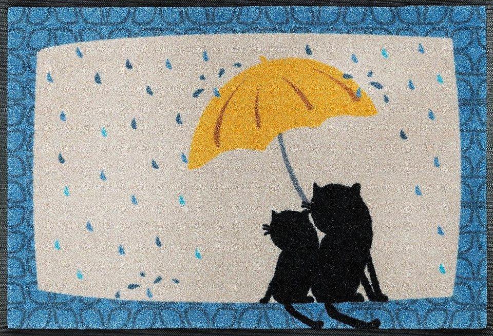 Fußmatte »Regen«, wash+dry by Kleen-Tex, rechteckig, Höhe 9 mm in blau-beige
