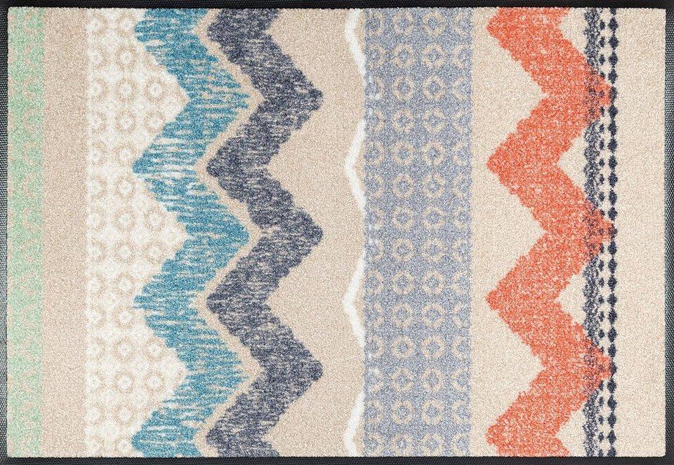 Fußmatte, wash+dry by Kleen-Tex, »Zigzag«, rutschhemmend beschichtet in natur bunt