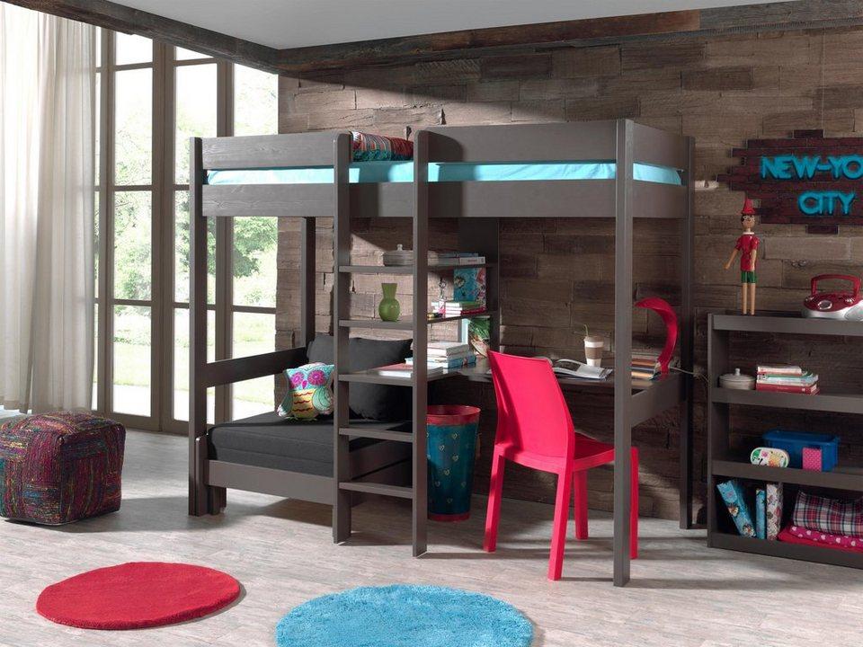Vipack Furniture Hochbett »Pino« in Kiefer massiv taupe