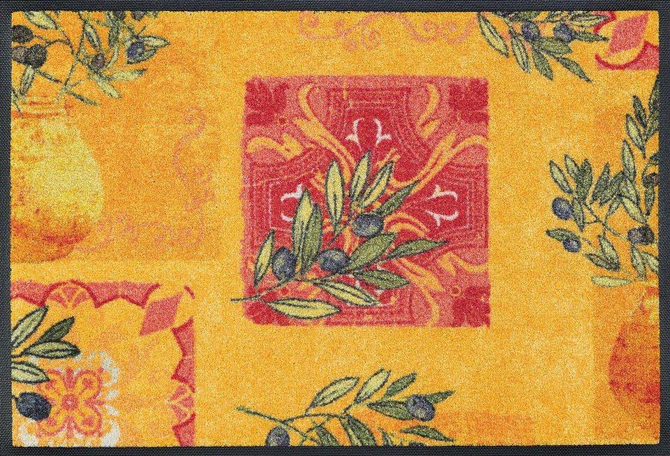 Fußmatte, wash+dry by Kleen-Tex, »Vita Romana«, rutschhemmend beschichtet in gelb rot