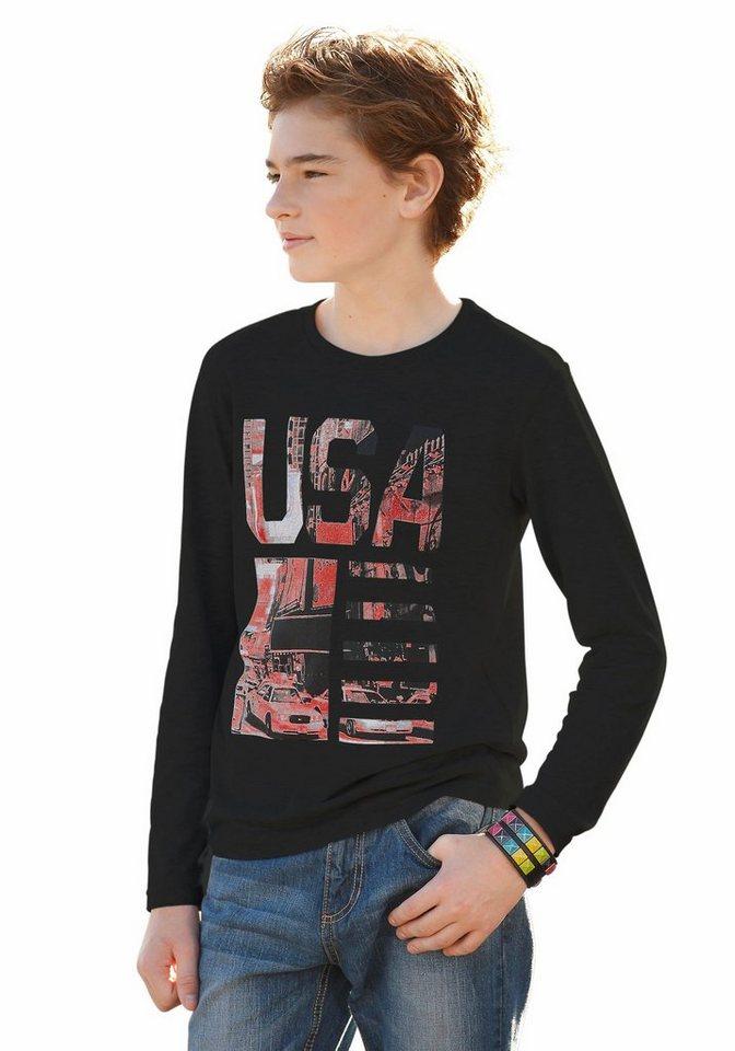 """Arizona Langarmshirt """"USA"""" in schwarz"""