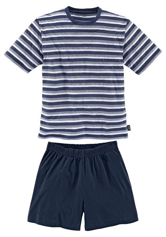 Kurzer Pyjama, H.I.S in 1x blau-weiß-marine