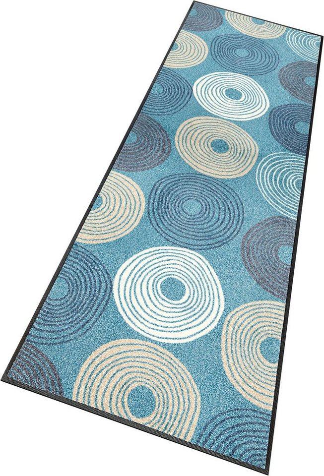 Läufer, wash+dry by Kleen-Tex, »Cyclone«, rutschhemmend beschichtet in taubenblau