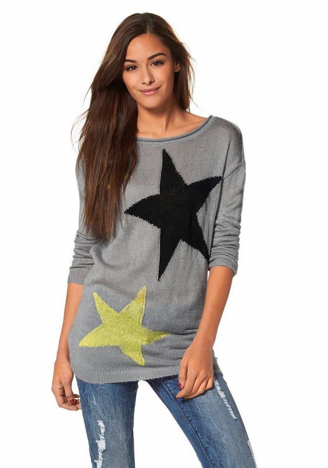 AJC Rundhalspullover mit Sternen in grau