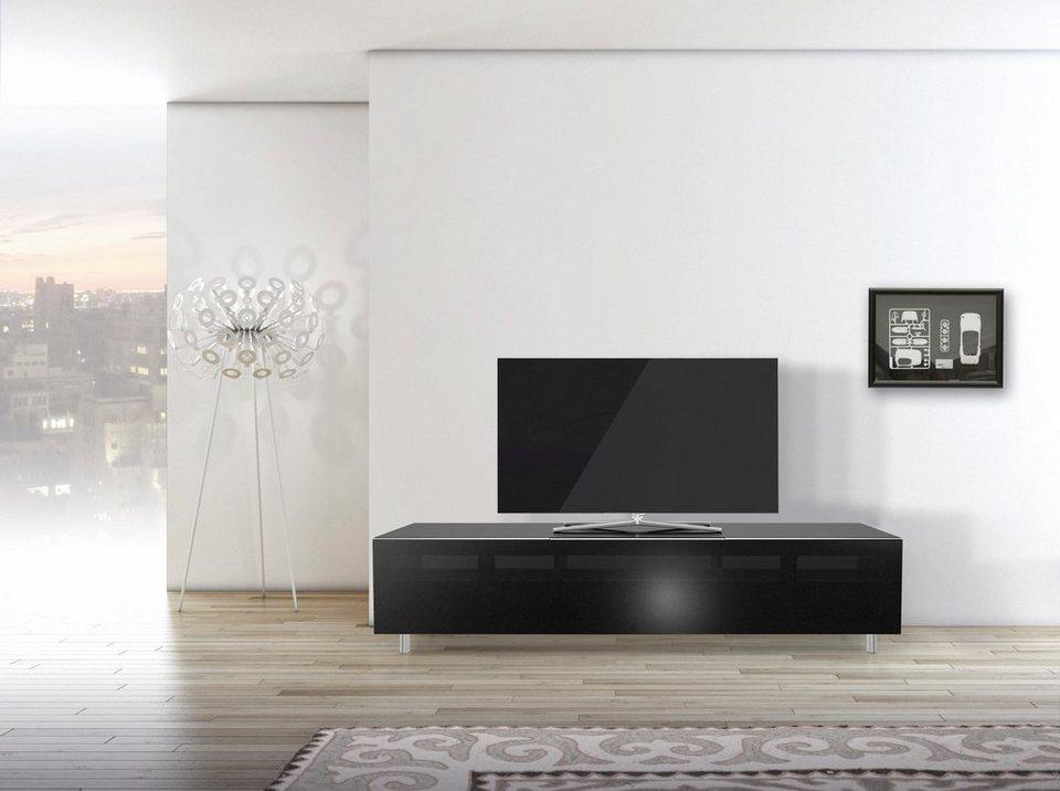 just-racks TV-Lowboard »JRL1651S« mit stoffbespannter Klappe, Breite 165 cm in Schwarzglas