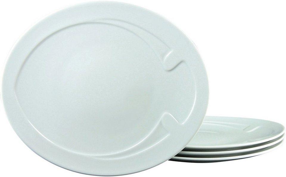 CreaTable Grillteller, Porzellan, 30 cm, »FISH« (4 Stck.) in weiß