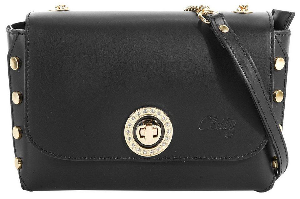 Cluty Leder Damen Umhängetasche in schwarz