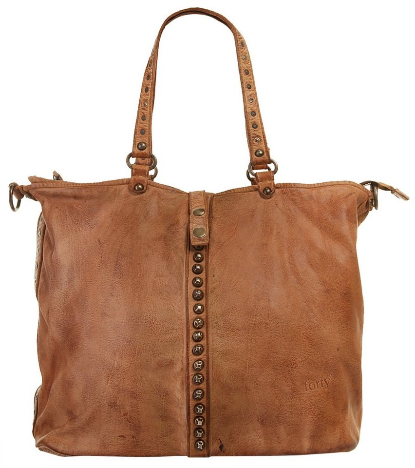 Forty degrees Leder Damen Shopper in cognac