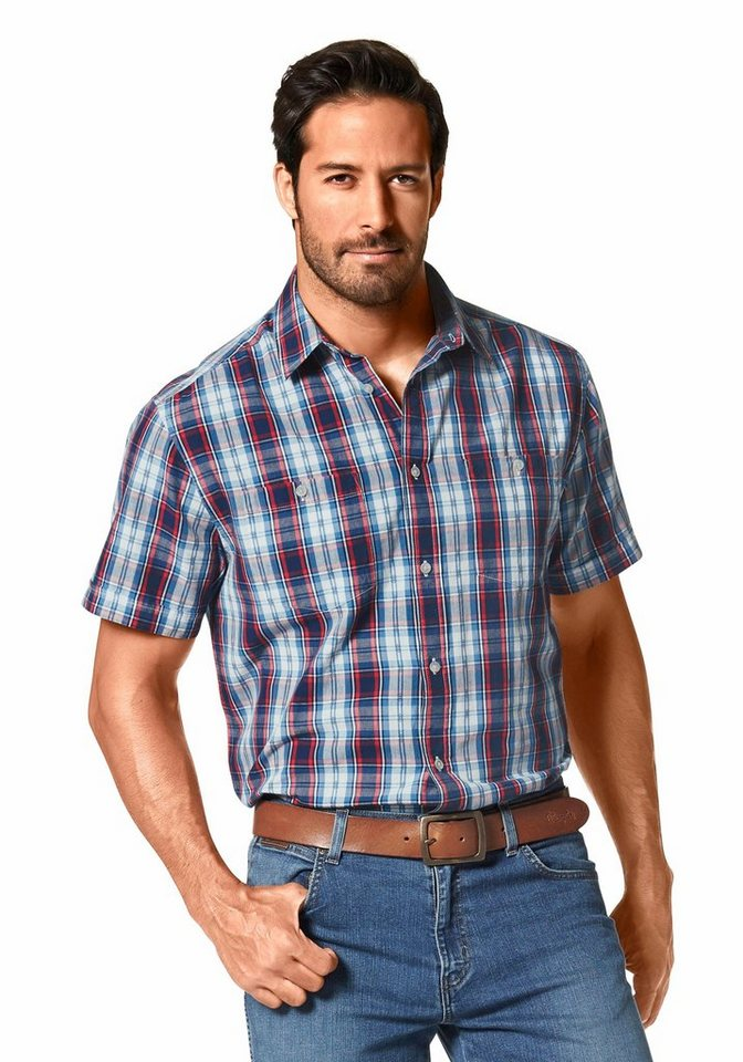 Wrangler Kurzarmhemd in blau-rot-ecru