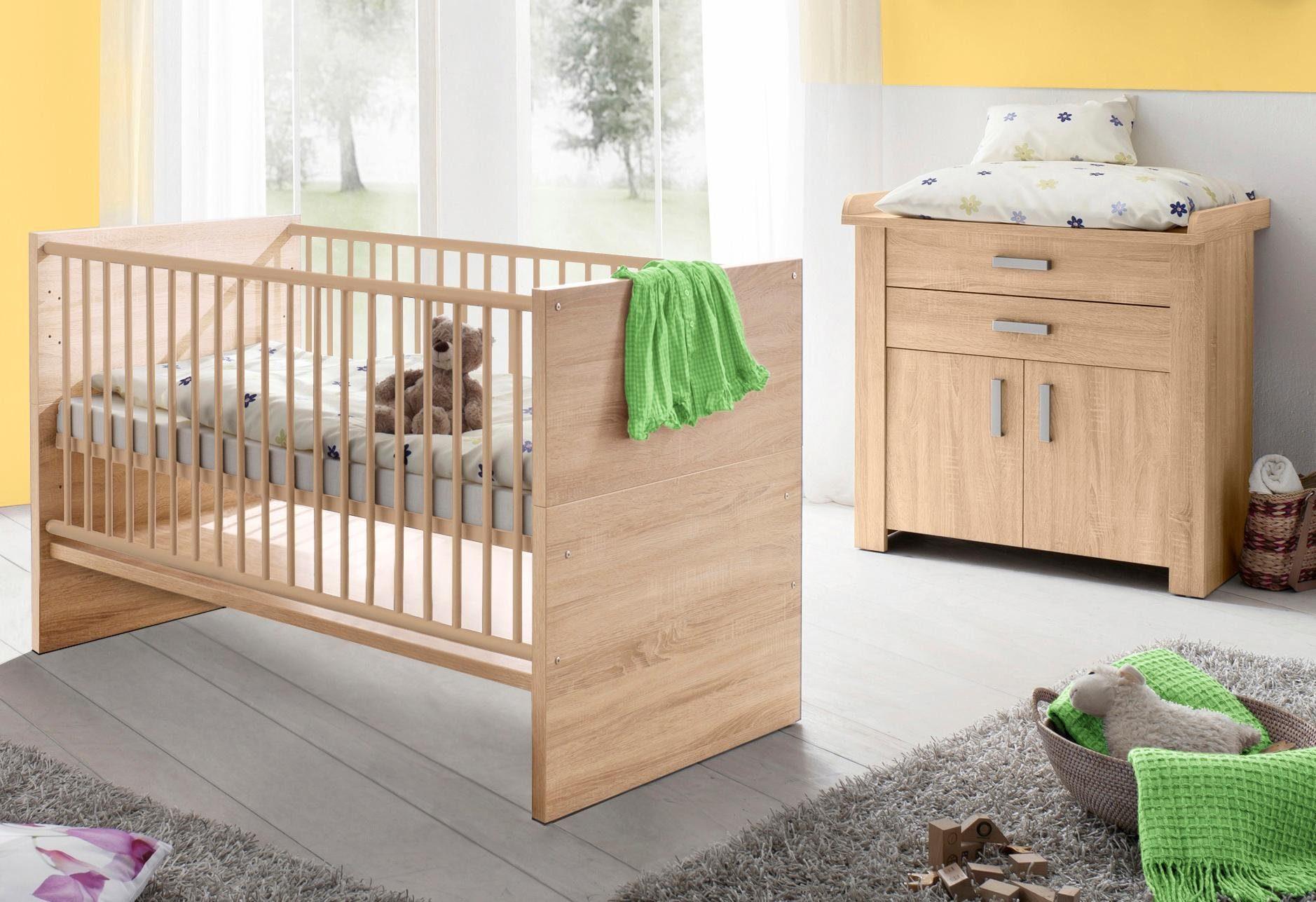 Spar-Set: Bett und Wickelkommode »Olek«, in eiche sägerau