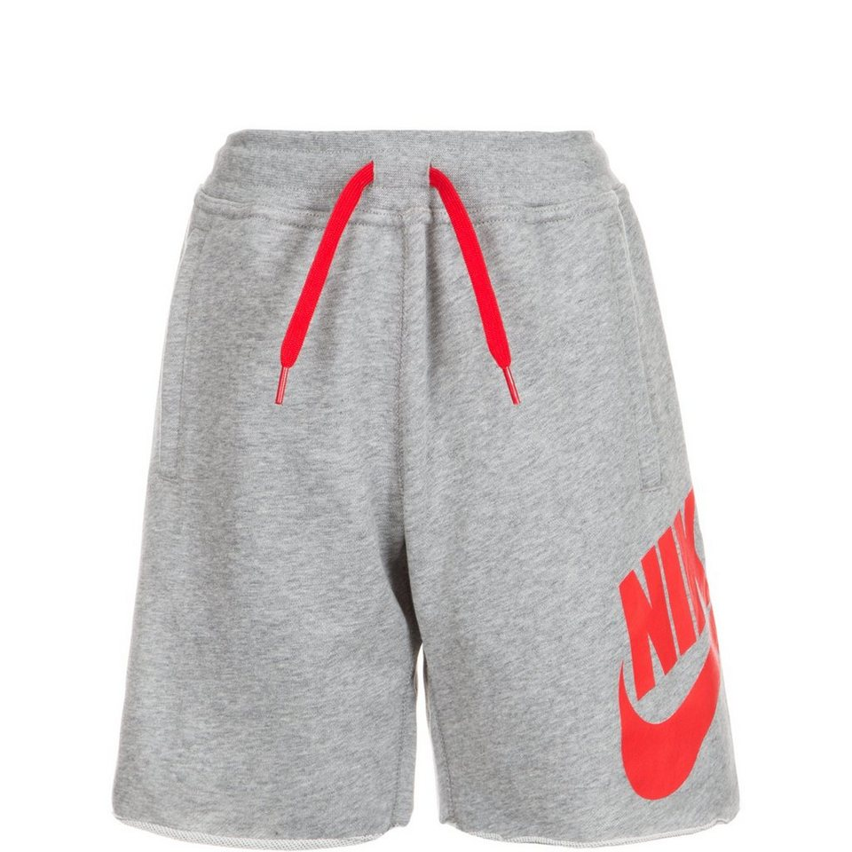 NIKE French Terry Alumni Trainingsshort Kinder in grau / rot
