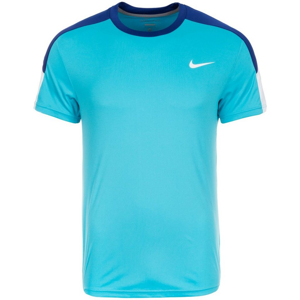 NIKE Team Court Crew Tennisshirt Herren in mint / dunkelblau