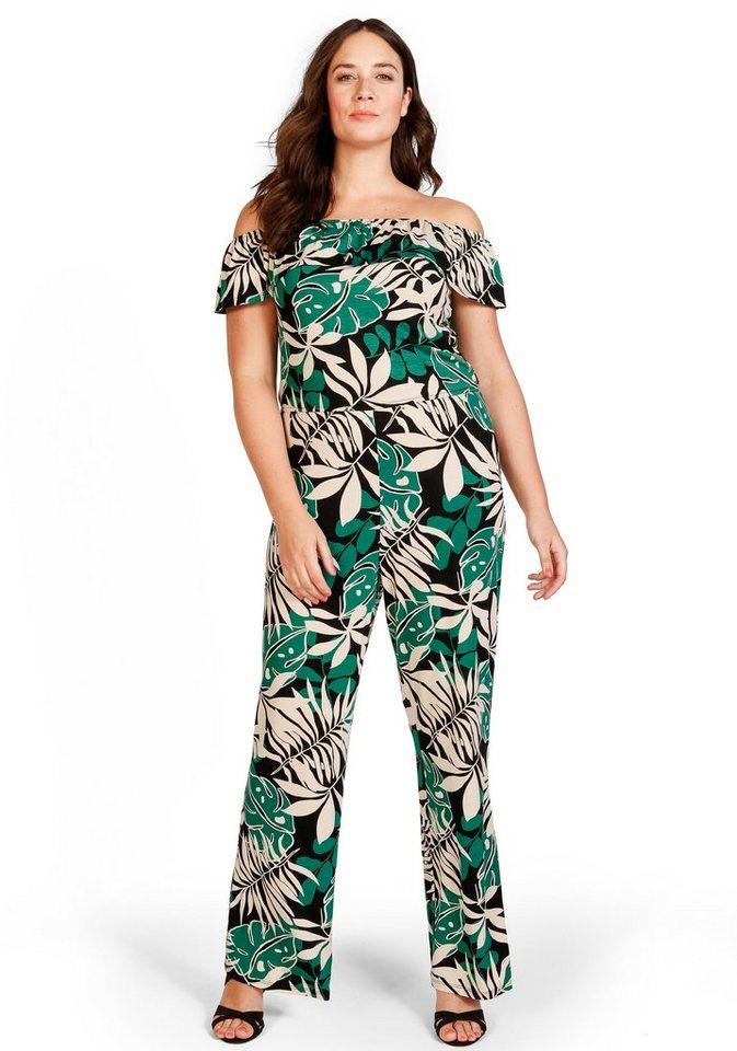 sheego Trend Jumpsuit in schwarz bedruckt