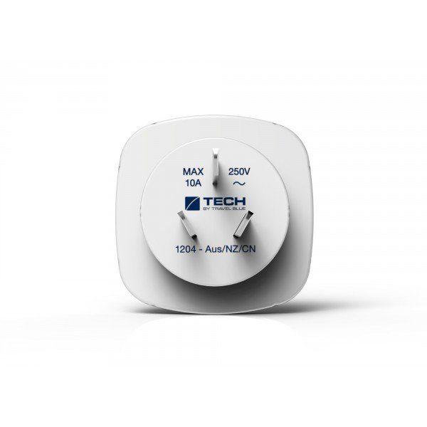 Travel Blue Reiseadapter (Europa nach China/Australien) mit Doppel USB-Anschluss, weiß