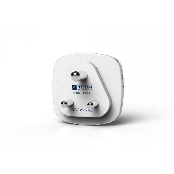 Travel Blue Reiseadapter (Europa nach Indien) mit Doppel USB-Anschluss, weiß