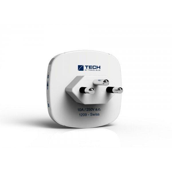 Travel Blue Reiseadapter (Europa nach Schweiz) mit Doppel USB-Anschluss, weiß