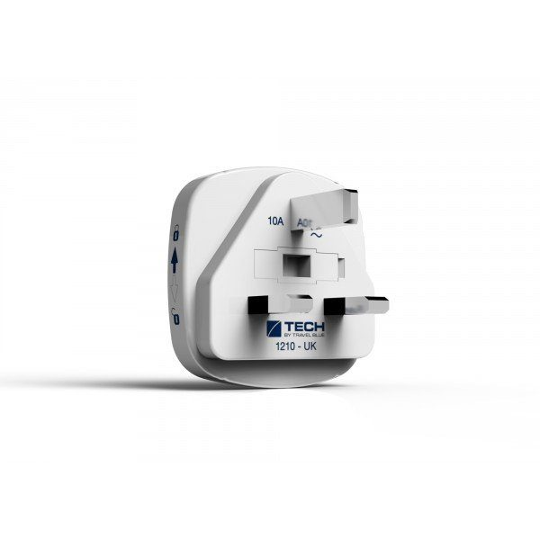 Travel Blue Reiseadapter (Europa nach Großbritannien) mit Doppel USB-Anschluss, weiß