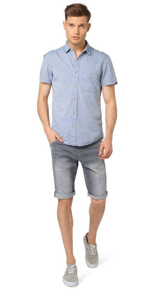 TOM TAILOR DENIM Shorts »ANTI FIT grey denim bermuda« in bleached light grey