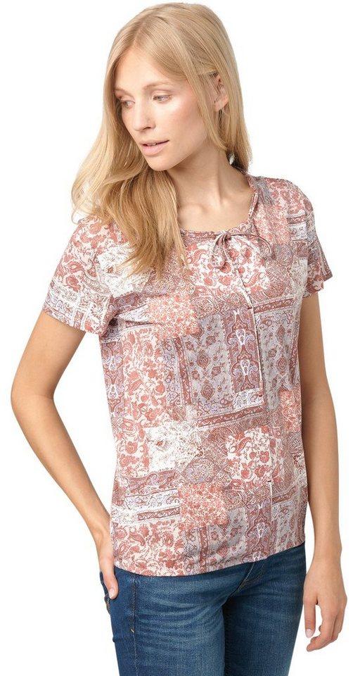 TOM TAILOR T-Shirt »Print-Shirt mit Kachel-Motiv« in whisper white