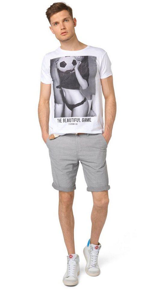 TOM TAILOR DENIM Shorts »Chino-Bermuda mit Gürtel« in steel grey