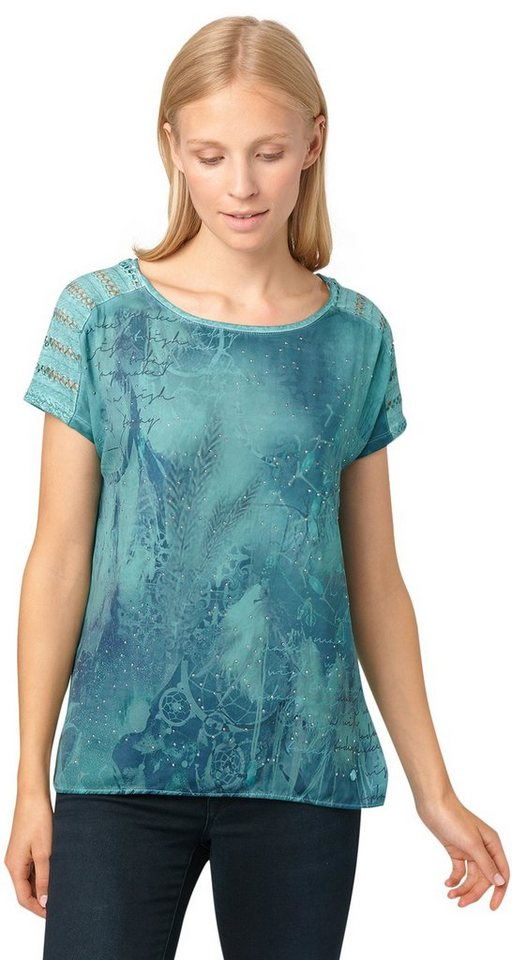 TOM TAILOR T-Shirt »Stoffmix-Shirt mit Strasssteinen« in Pool Turquoise