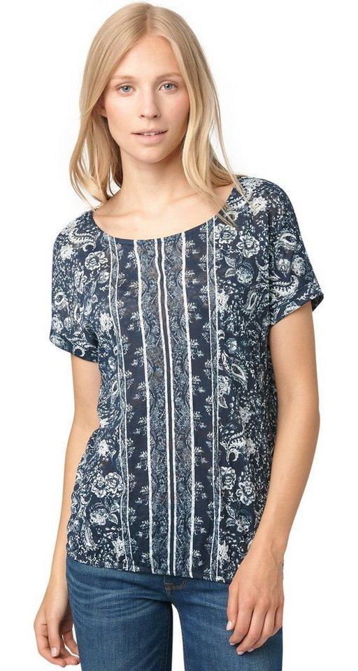 TOM TAILOR T-Shirt »Print-Shirt mit Spitzen-Einsatz« in real navy blue