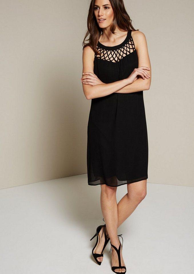 COMMA Elegantes Kreppkleid mit edlen Detailarbeiten in black