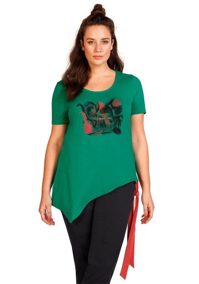 sheego Trend Longshirt in blattgrün bedruckt
