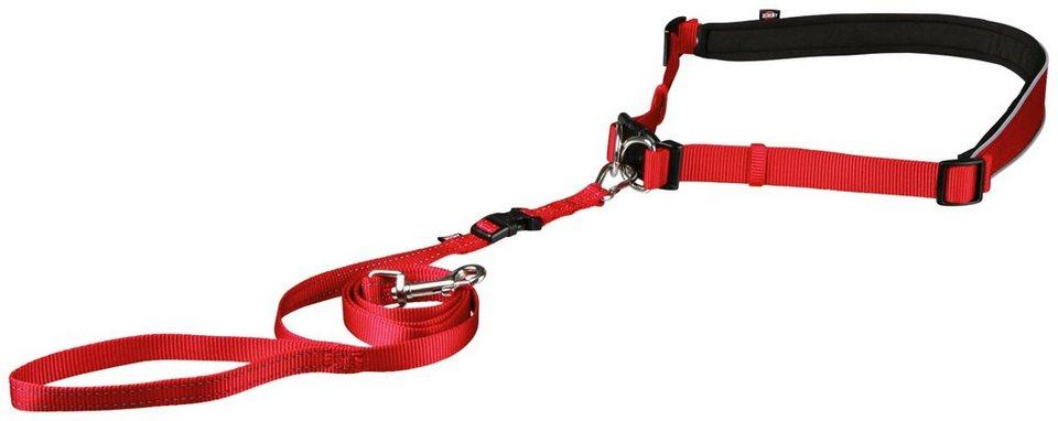 Bauchgurt mit Hundeleine, Leinenlänge: 120 cm in rot