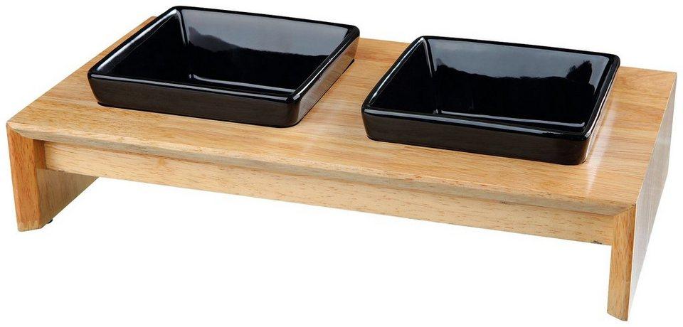 Fressnapf-Set, Keramik/Holz, 2 x 400 ml in schwarz