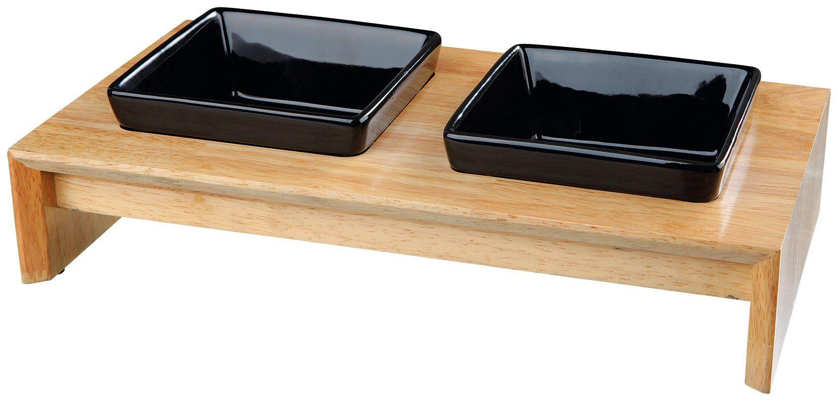 Trixie Fressnapf-Set, Keramik/Holz, 2 x 400 ml