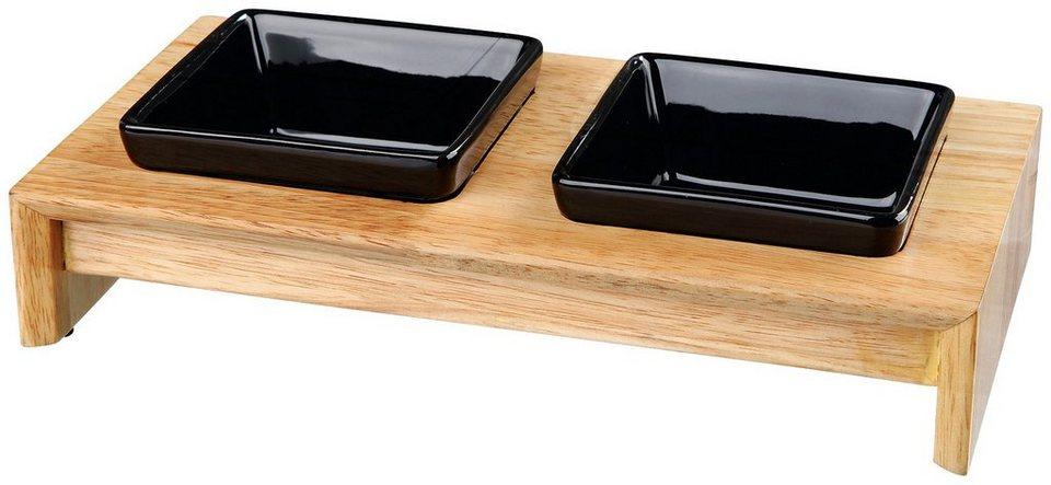 Fressnapf-Set, Keramik/Holz, 2 x 200 ml in schwarz