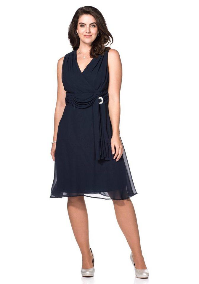 sheego Style Abendkleid mit Schmuckbrosche in dunkelblau