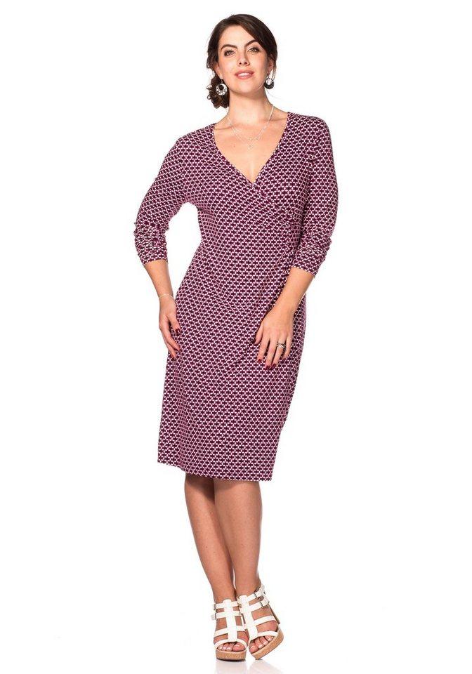 sheego Style Jerseykleid mit Alloverdruck in weinrot bedruckt